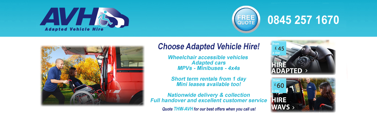 Adapted Vehicle Hire for Wheelchair users - nationwide delivery and collection available