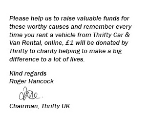 Thrifty are raising valuable funds for worthy causes